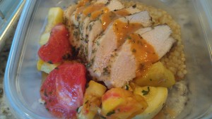 Roasted chicken breast and local tomato butter