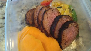 Cumin crusted pork with Cotija sweet potato puree
