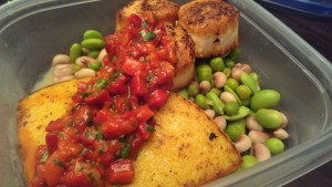 Seared scallops and polenta with roasted pepper relish and citrus beans